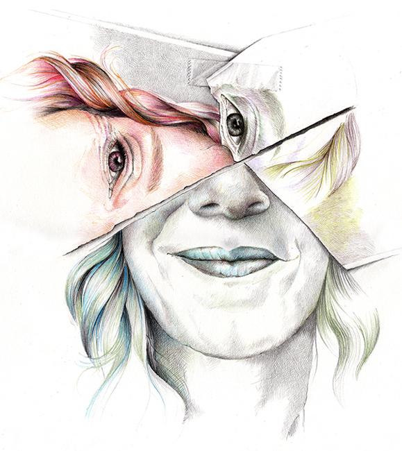 ein Selbstporträt in der Darstellung gerissenes Papier