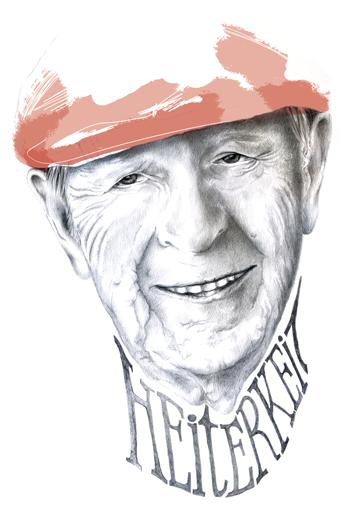 Porträt eines alten Mannes, der heitere Gelassenheit ausstrahlt. Diese Heiterkeit kann ihm mitunter auch die Luft abschnüren.